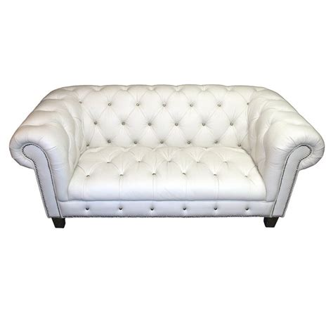 White Tufted Leather Sofa Tufted White Leather Sofa At 1stdibs