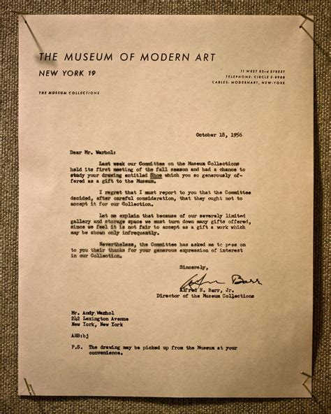 Rejection Letter Ross Andy Warhol Rejection Letter Rossgpalmer