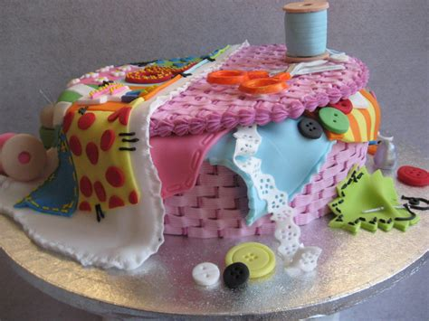 Patchwork Cake - 70th birthday cake sewing basket with patchwork quilt