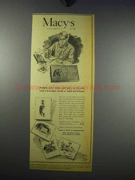 Macy S Christmas Gift Card - 1943 macy s department store ad christmas cards