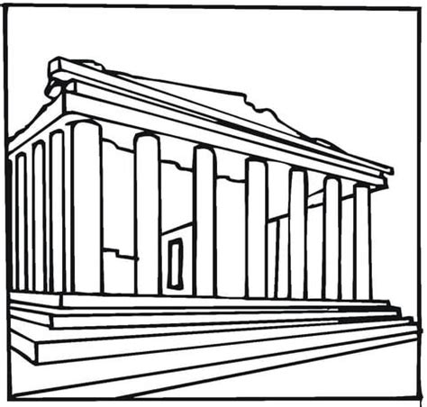 parthenon template parthenon greece coloring page free printable coloring pages