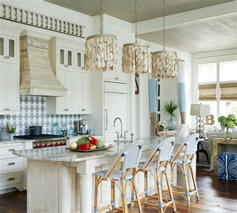 Glass Pendant Lighting For Kitchen Islands by Elegant Home That Abounds With Beach House Decor Ideas