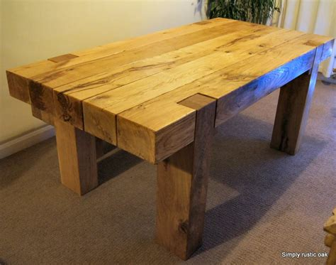 Handmade Oak Tables - bespoke rustic oak beam dining table handcrafted