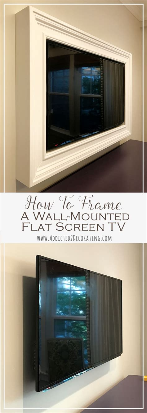 tv in kitchen ideas custom diy frame for wall mounted tv finished mounted