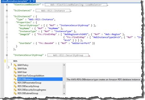 cloud formation template aws cloudformation template editors for visual studio and