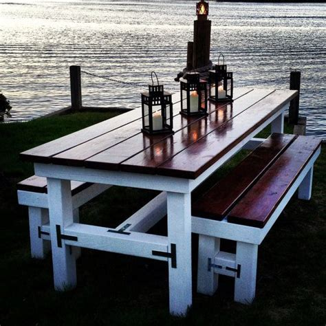 outdoor wooden table and benches 25 best ideas about picnic tables on pinterest diy