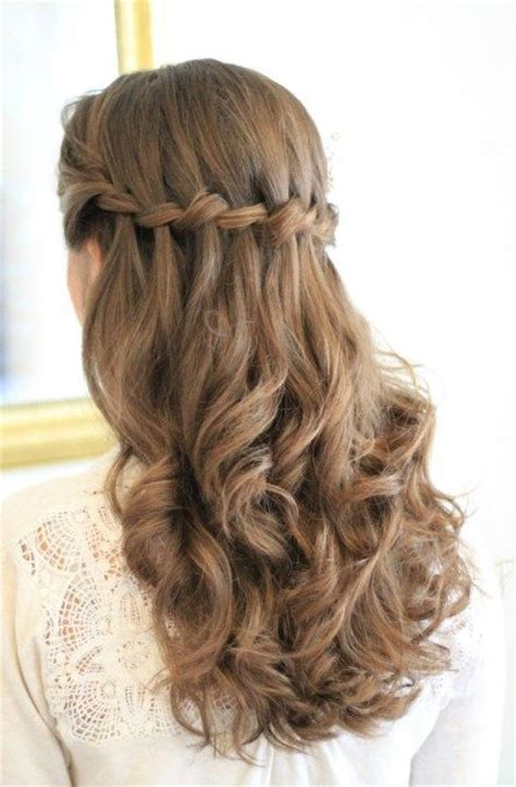 wedding hairstyles half up half down plaits half up waterfall plait wedding inspiration pinterest