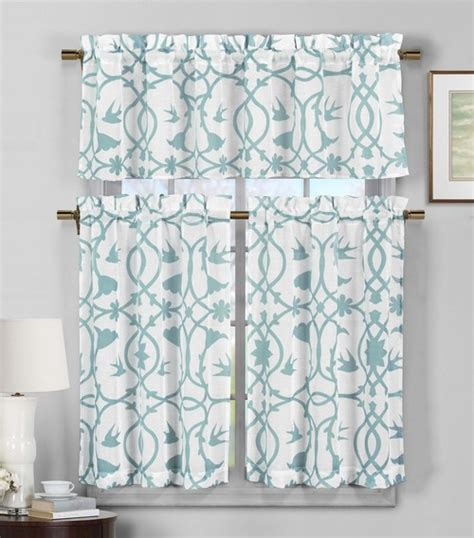 Teal Sheer Valance 3 Semi Sheer Window Curtain Set Teal Blue And White