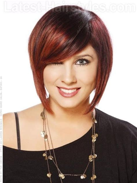 how to cut stack bob with side swept bangs hidden stack shaped cut brunette style with red highlights
