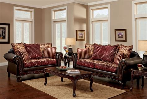 Ellis Brown And Burgundy Living Room Set From Furniture Of Burgundy Living Room Set