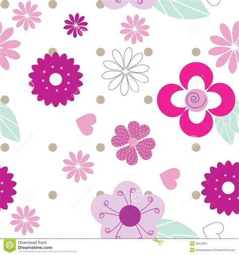 pattern cute pink cute seamless background pattern with pink flowers stock