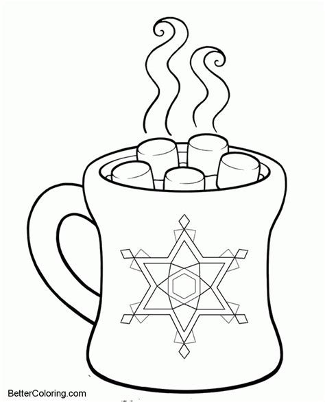 hot chocolate  winter coloring pages  printable