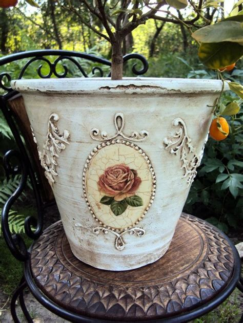 Decoupage Terracotta Plant Pots - 74 best images about decoupage flowers pots on