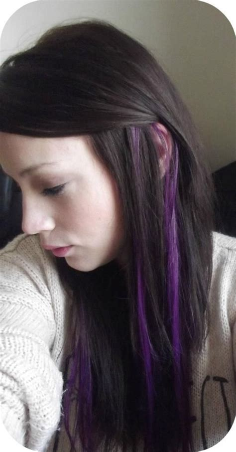 streaked hair color purple streaks in my hair i clip in highlight