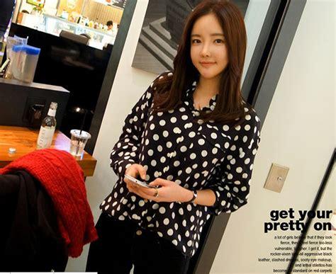 Q4 Kemeja Wanita Kemeja Sifon Murah Kemeja Kode E5472 1 kemeja sifon wanita korea polkadot model terbaru jual murah import kerja