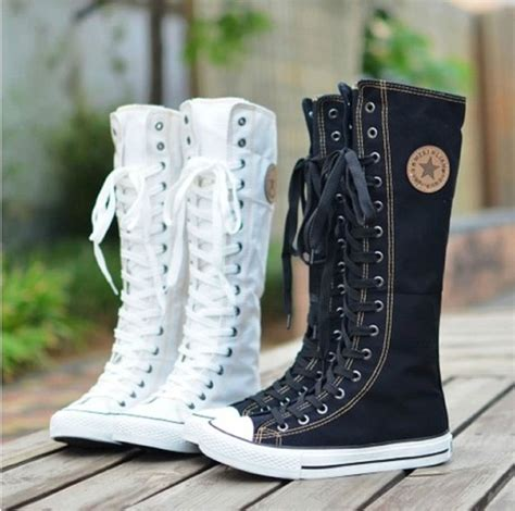 pattern lace up knee high sneaker boots punk emo women girl shoes sneaker lace up zip boot knee