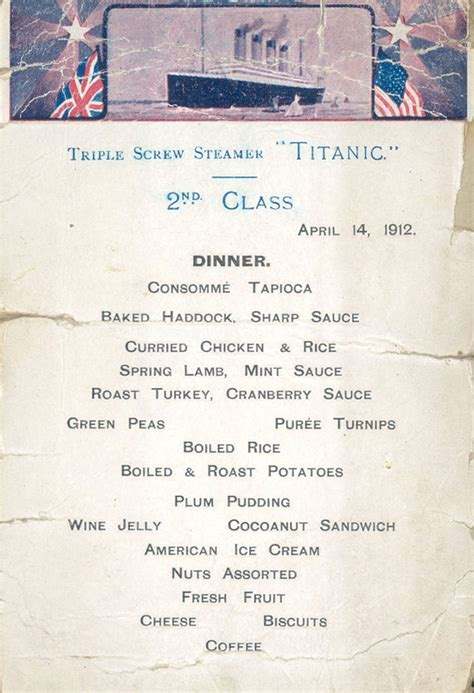 titanic menus this is what they were serving on the titanic the night it