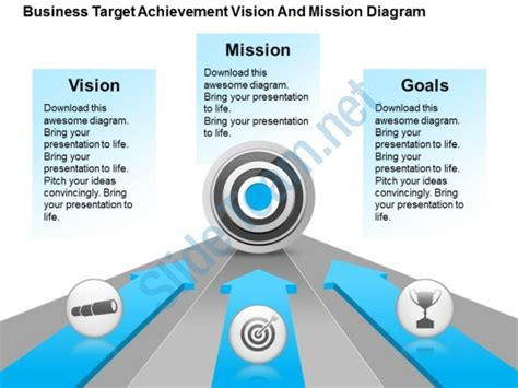 powerpoint templates free vision business target achievement vision and mission diagram