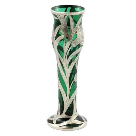 Glass Vase With Silver Overlay by Nouveau Green Glass Vase With Sterling Silver Overlay