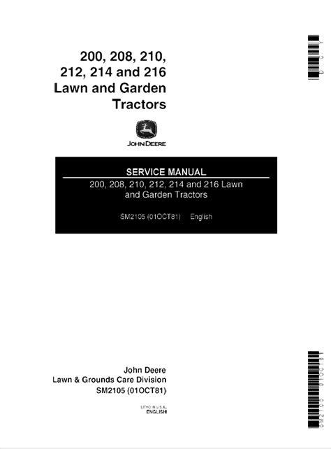 John Deere 200 208 210 212 214 216 Tractors SM2105 PDF