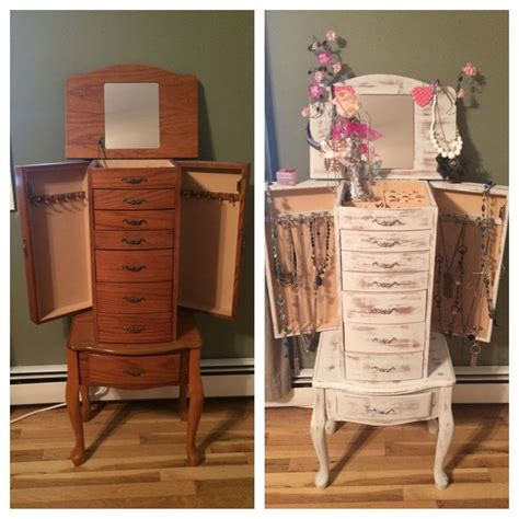refinished jewelry armoire french shabby chic distressed