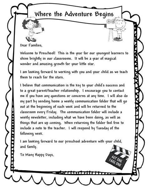 Parent Letter Communication 25 Best Ideas About Preschool Welcome Letter On