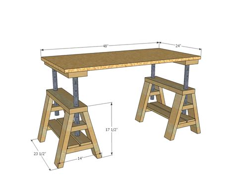 adjustable height desk plans white modern indsutrial adjustable sawhorse desk to coffee table diy projects