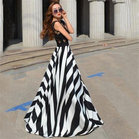 Big Stripe Casual Dress 26018 large wing fashion chiffon dress striped print dress summer casual maxi dress
