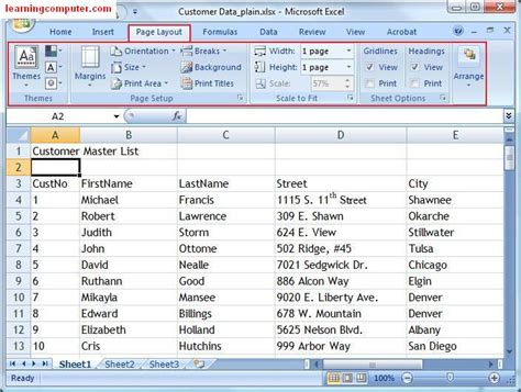 layout inspection definition microsoft excel page layout tab