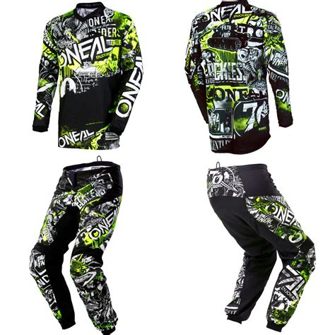 motocross pants and oneal element attack motocross dirt bike gear jersey