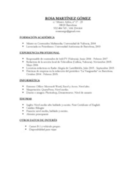 Modelo Curriculum Vitae Simple Chile Modelos Y Plantillas De Curriculum Vitae Modelo Curriculum