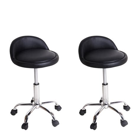 adeco black leatherett rolling chairs counter stools