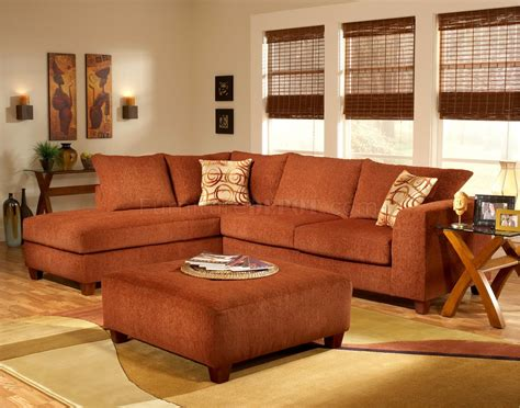 terracotta couch terracotta fabric modern sectional sofa w optional ottoman