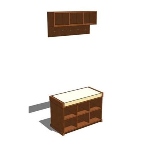 storage bench and wall unit entryway bench and wall storage 3d model formfonts 3d