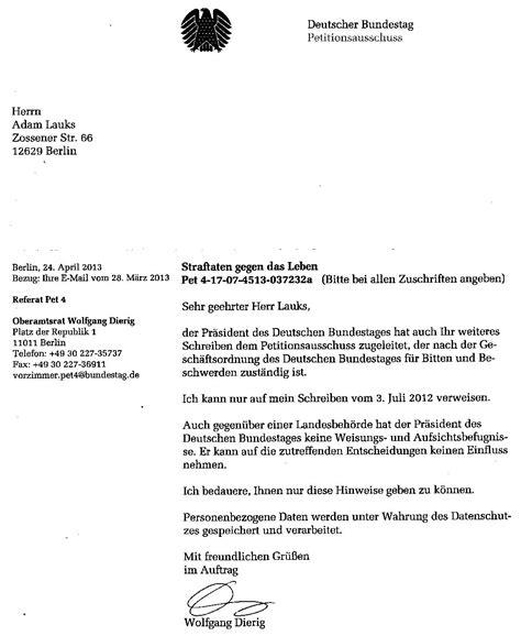 Deutsche Brief Beispiel Der Letzte Offene Brief Des Folteropfers Der Stazis Adam Lauks An Den Petitionsausschuss Des