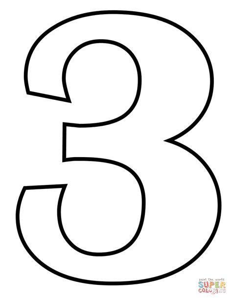 coloring page of the number 3 number 3 coloring page free printable coloring pages