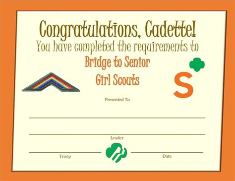 free printable girl scout bridging to cadette certificates