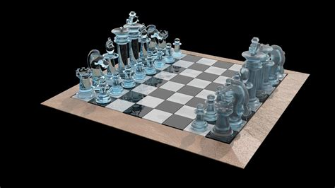 glass chess boards chess set glass 3d model game ready max obj 3ds fbx