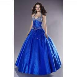Ball gown halter top beading royal blue taffeta long prom dress