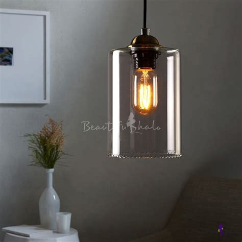 clear glass mini pendant light 1 light led mini pendant light with cylindrical shade in