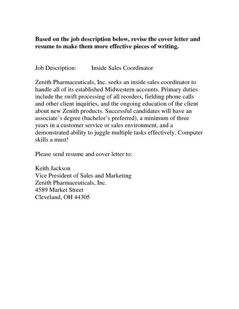 Entry Level Sales Cover Letter by Doc 553687 Pharmaceutical Sales Cover Letter Sle Bizdoska