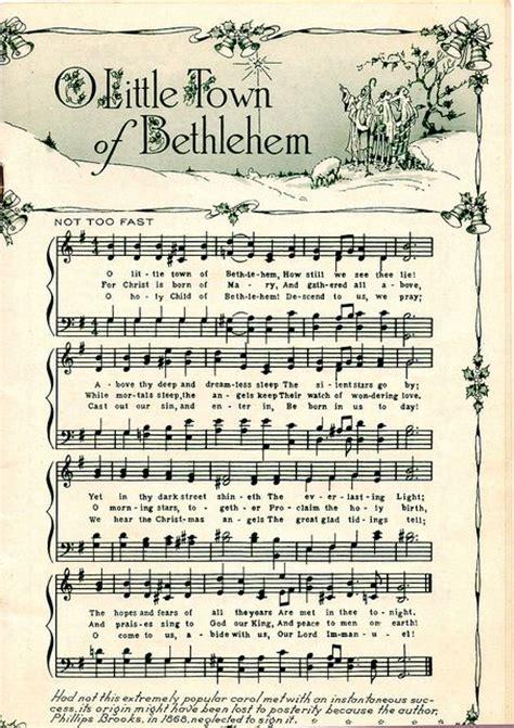 printable christmas music sheets o little town of bethlehem cards pinterest