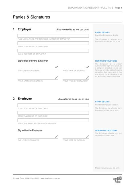 part time employment agreement template sle
