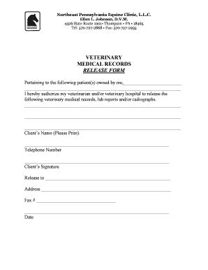 Veterinary Medical Forms Fillable Printable Resume Sles Templates To Download Against Veterinary Release Form Template