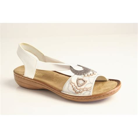 with sandals rieker rieker white sandal with elasticated beading