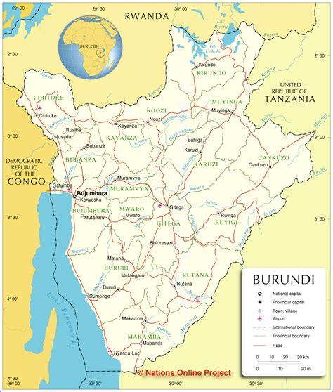 burundi map administrative map of burundi nations project
