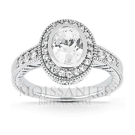Halo Ring 1253 antique oval halo style moissanite engagement ring
