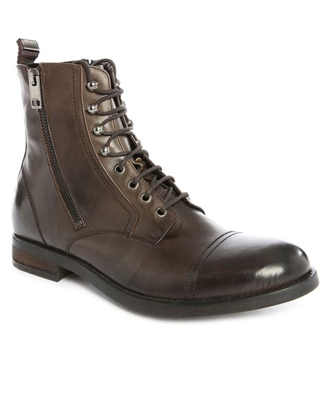 diesel boots mens diesel d kallien brown aged leather boots in brown for