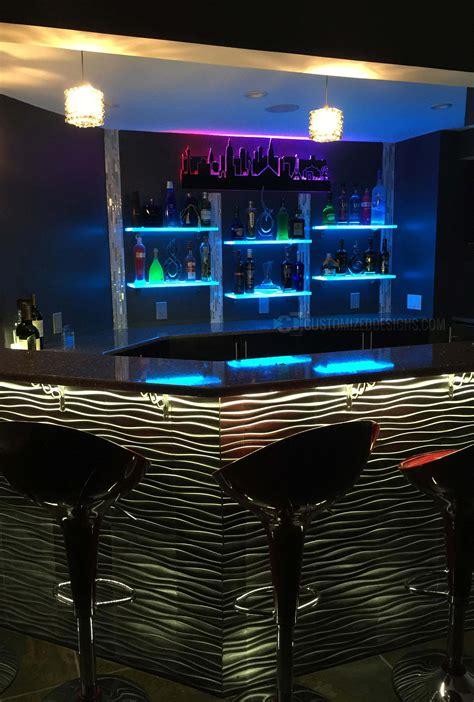 home bar led lights led lighted shelves back bar shelving for home bars