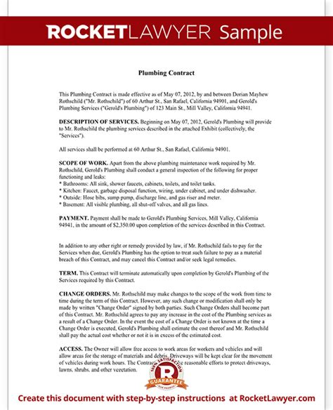 Plumbing Service Agreement Template by Plumbing Contract Template Independent Contractor